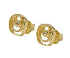 AP1076-G Silber Ohrstecker Gold mit Zirkonia