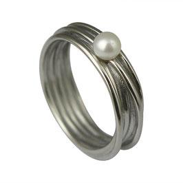 RH434 Edelstahl Ring mit Süßwasserperle