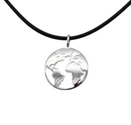 D1084 Silber Anhänger Welt  mit Kette