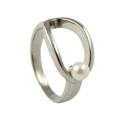 RH447 Edelstahl Ring mit Süßwasserperle