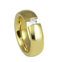 RH391-G Edelstahl Ring Gold mit Zirkonia