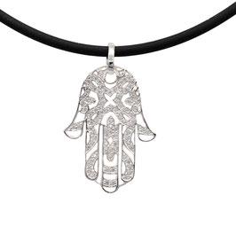 D1041 Silber Anhänger Fatima Hand mit Kette