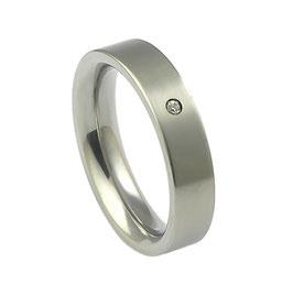 R5-01 Edelstahl Ring mit Zirkonia