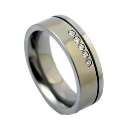 R7-29-51 Edelstahl Ring mit Zirkonia