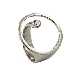 RH452 Edelstahl Ring mit Zirkonia