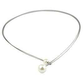 HP02 Edelstahl Collier mit Perlen