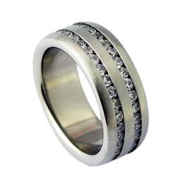 RH349 Edelstahl Ring mit Zirkonia