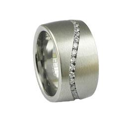 RH397 Edelstahl Ring mit Zirkonia