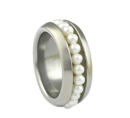 RP9 Edelstahl Ring mit Süßwasserperlen