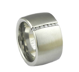 RH387 Edelstahl Ring mit Zirkonia