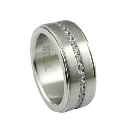 RH402 Edelstahl Ring mit Zirkonia