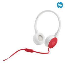 Auriculares HP H2800, Blanco/Rojo, tipo vincha, microfono, control de volumen, jack 3.5mm.