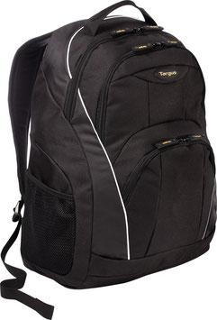 Mochila Targus Motor, laptop hasta 16, Negro con detalles blancos, Polyester.