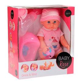 1X Poupée Bébé Rose avec accessoires 25cm