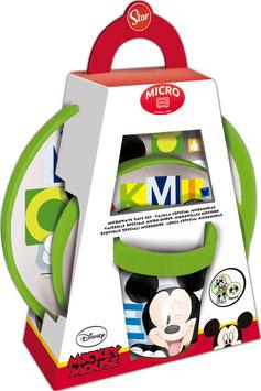 2X  SET PREMIUM 3 PIECES (ASSIETTE, BOL et VERRE 260 ML) BICOLORE MICKEY à € 7