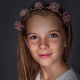 Stirnband Mädchen Blume lachs/rosa
