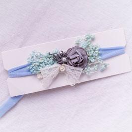 Baby Stirnband Blume mint/grau -Variante 10-