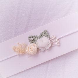 Baby Stirnband grün/beige Blumen -Variante 11-