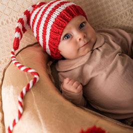 Baby Mütze rot/weiss gestreift
