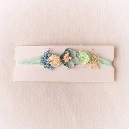 Baby Stirnband blau/türkis Blumen -Variante 5-