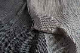 Linen Double Gauze - Black White Tiny Check
