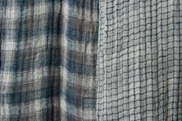 Linen Double Gauze - Grey Blue Check