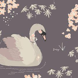 Bio Baumwolle - Dabbling Swan Plum (Art Gallery)