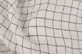 Linen Double Gauze - White Check