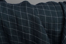 Linen Double Gauze - Dark Blue Check
