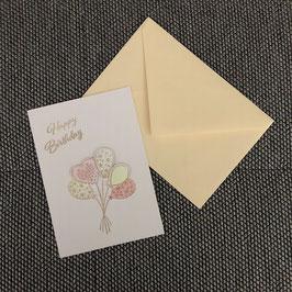 "Geburtstagskarte ""farbige Ballone"""