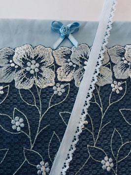 Slip Nähset hellblau/hellblauschwarz Blumen