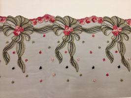 Spitze schwarz mit Blumen rosa/beige