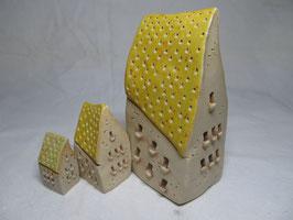 Schiefes Häuschen gelb gesprenkelt S M L