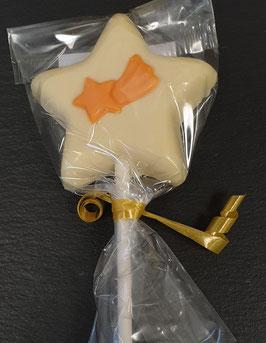 """Schokoschlecker """"Stern"""", weisse Schokolade und Orange"""
