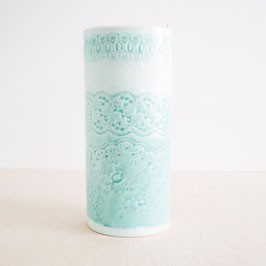 Large Dipped Glazed Porcelain Vase With Lace Detail