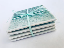 Drinks Coasters Green Aqua Blue Porcelain Tile Lace (Set of 4)