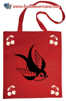 Tote Bag Swallow & Cherries