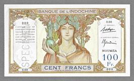 Nouvelle-Calédonie BIC 100 francs (1937) - P 42b  KM 415b. SPÉCIMEN