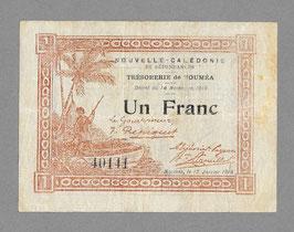 Nouvelle-Calédonie - Bon de caisse du Trésor - Un franc 1918