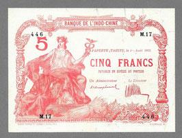 Billet Tahiti BIC 5 francs 1923
