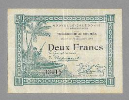Nouvelle-Calédonie - Bon de caisse du Trésor - Deux francs 1918