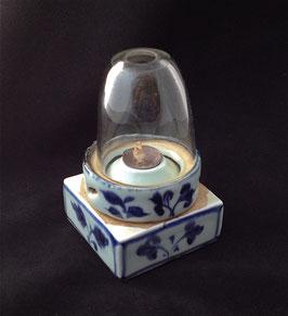 Lampe à opium carrée, en porcelaine blanc-bleu