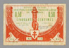 Tahiti Bon de caisse de la France-Libre 50 centimes (1942)