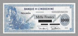 Nouvelle-Calédonie BIC 1000 francs sur 100 piastres (1943) P 45 / KM 428. SPÉCIMEN