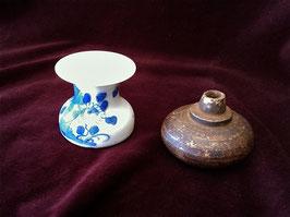 Petit cendrier à opium/crachoir en porcelaine blanc-bleu