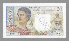 Billet Tahiti BIC 20 francs 1951 SPECIMEN