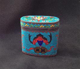 Boîte à opium en cloisonné bleue