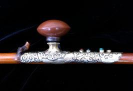 Pipe à opium en bambou et baitong décorée de pierreries