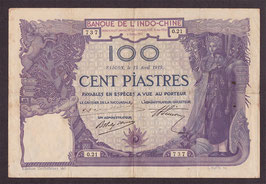 Billet d'Indochine 100 piastres 1919