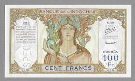 Nouvelle-Calédonie BIC 100 francs (1953) - P 42c  KM 415c. SPÉCIMEN